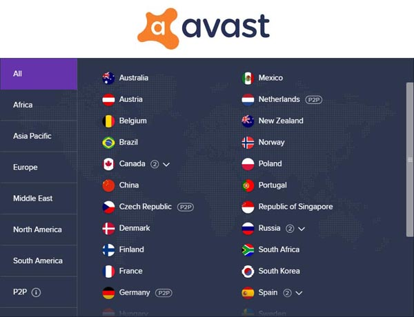 Updated List of Server Locations of Avast SecureLine VPN