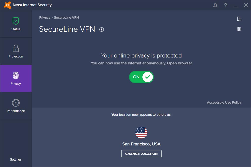 Avast SecureLine VPN 2018 Homepage