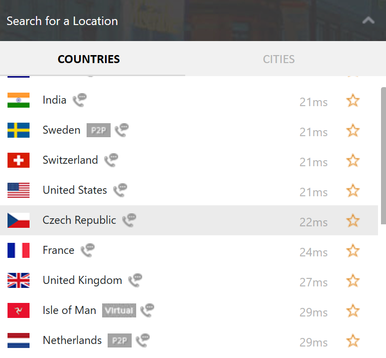 PureVPN Countries List