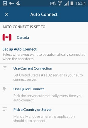 NordVPN Auto Connect Settings on Android