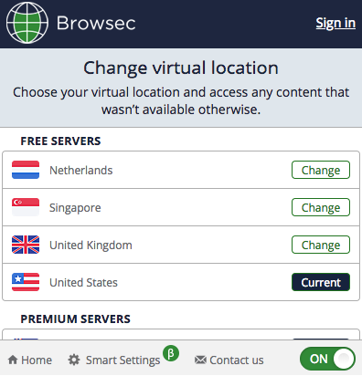 Browsec VPN Location List