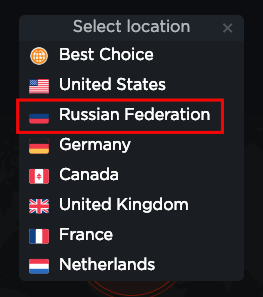 Touch VPN - Russia seems to have a new flag :)