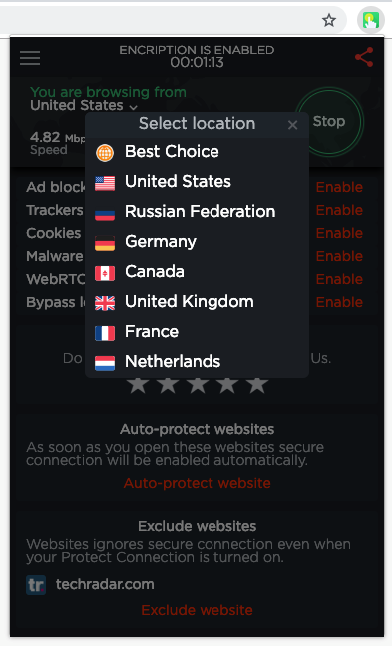 Touch VPN for Chrome Available Locations
