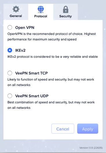 Veepn Encryption Settings